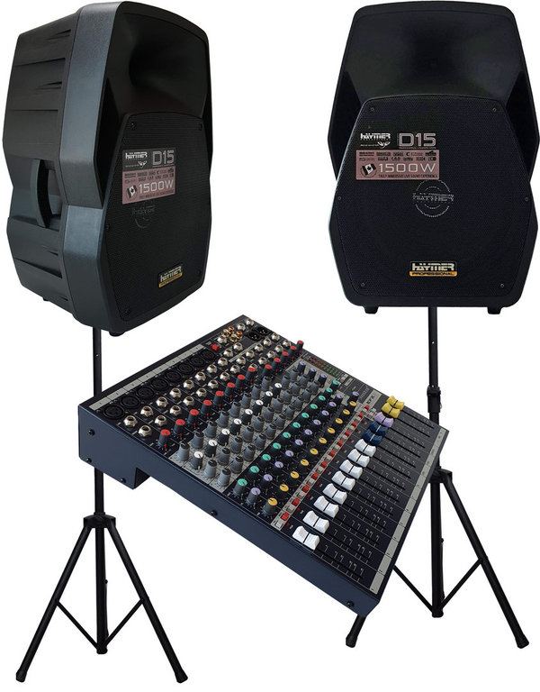 Aktive PA Anlage  mit 2x38 cm  Box , Soundcraft EFX 8.....