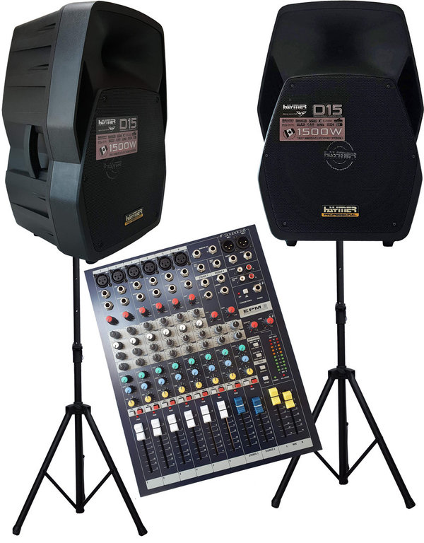 Aktive PA Anlage  mit 2x38 cm  Box , Soundcraft EPM 6 ....